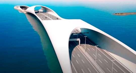 В Катаре строится грандиозный полуподводный мост. Видео