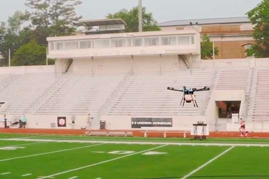 В США беспилотники привлечены для дезинфекции стадионов. Видео