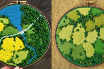 Художница вышивает целые ландшафты