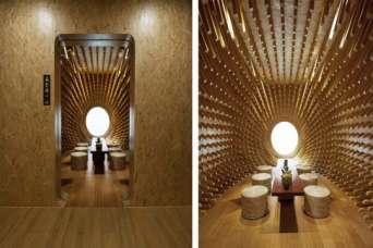 Чайный домик украсили почти тысячей деревянных палочек