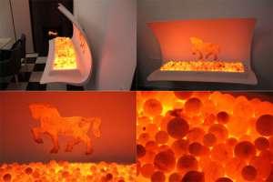 Создана первая в мире мебель с реалистичным эффектом огня. Видео