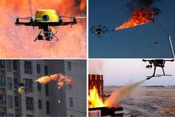 Новые роевые технологии: «стая» дронов тушит пожары.  Видео