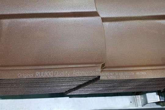 Качество металлочерепицы Ruukki гарантируется с помощью лазерной маркировки