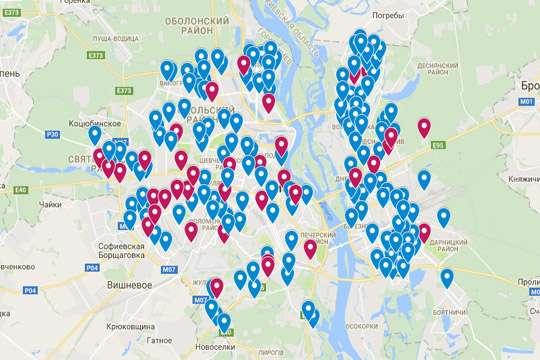 Киевские бюветы нанесли на карту